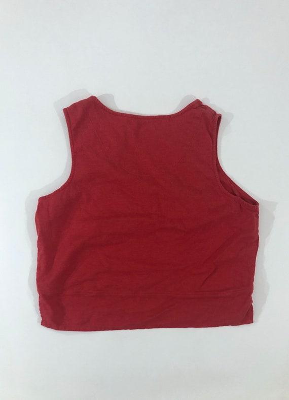 Y2K Red Linen Tank Top Plain T Shirt Pocket Tee C… - image 4