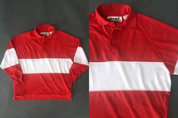 VTG 80s Polo Shirt Long Sleeve Block Stripe Pocke… - image 1