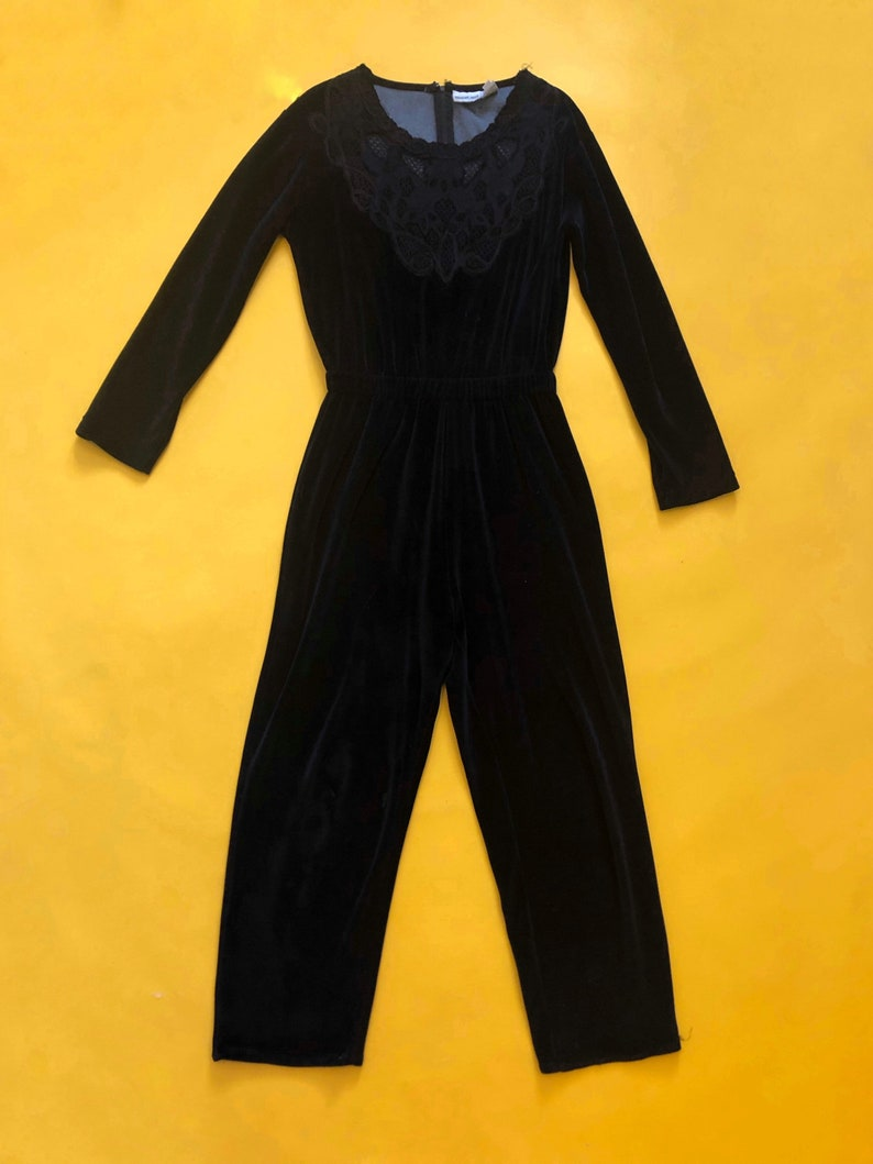 VTG 90s Black Velour Jumpsuit Lace Long Sleeve 1990s Vintage Small S