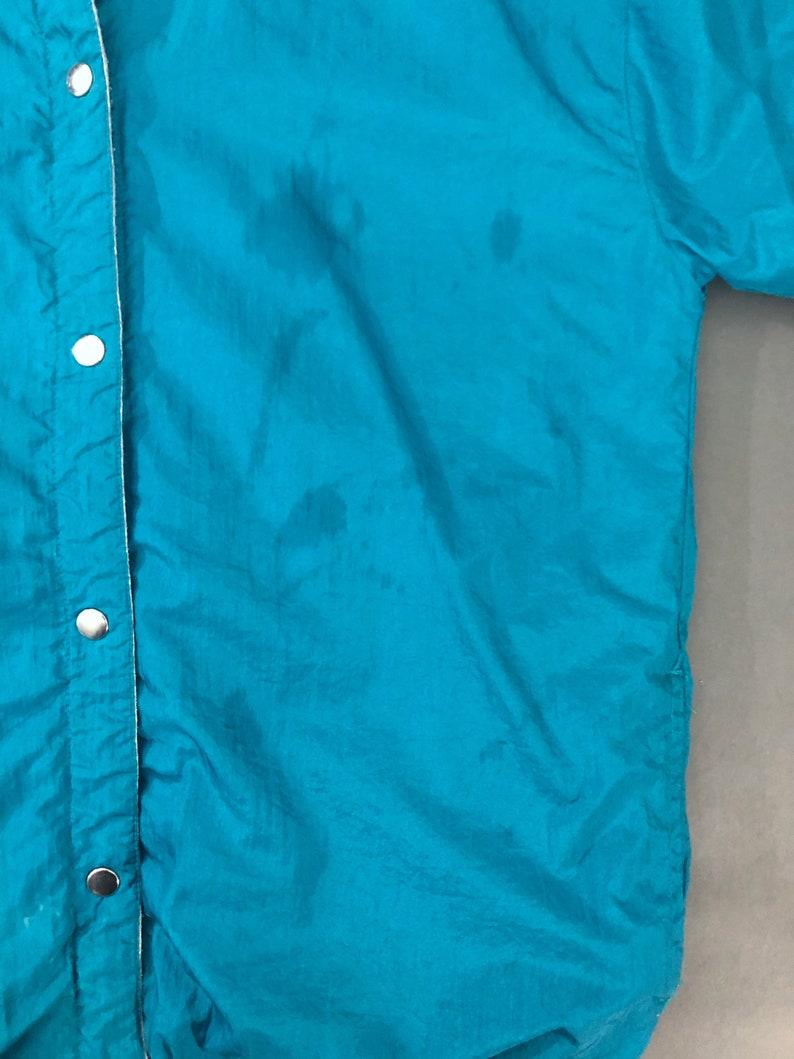 VTG 90s Reversible Teal Nylon Windbreaker Snap Button Gray Fleece Triangle Print Velcro Pocket 1990s Vintage Small S Medium M Large L XL