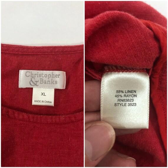 Y2K Red Linen Tank Top Plain T Shirt Pocket Tee C… - image 5