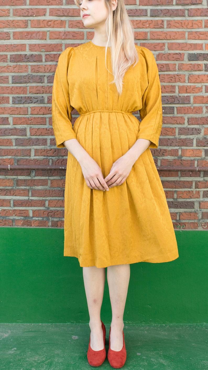 8a5f67002159d5 The Cornflower / Mustard yellow dress / Mid-length sleeve / | Etsy
