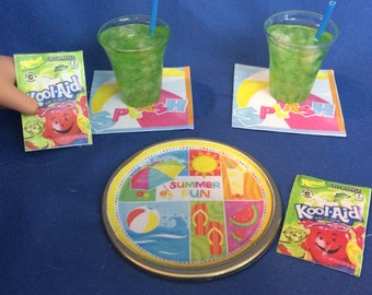 Lot#80 Summer Plate and Drink set. 2 kool aid drinks + plate/napkins and Kool-aid packets fits American Girl doll or other 18 inch doll