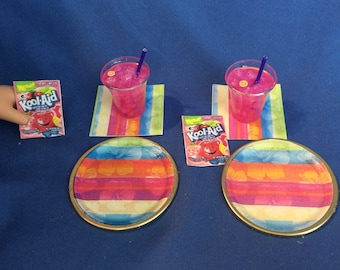 Lot#83 Summer Plate and Drink set. 2 kool aid drinks + 2 plates & napkins and Kool-aid packets - fits American Girl doll or other 18 inch do