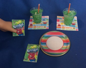 Lot#81 Summer Plate and Drink Set. 2 kool aid drinks + plate/napkins and Kool-aid packets fits American Girl doll or other 18 inch doll