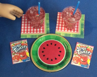 Lot#78 Summer Plate and drink set. 2 kool aid drinks + plate/napkins and Kool-aid packets fits  American Girl doll or other 18 inch doll