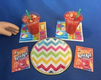 Lot#79 Summer Plate and Drink set. 2 kool aid drinks + plate/napkins and Kool-aid packets fits American Girl doll or other 18 inch doll