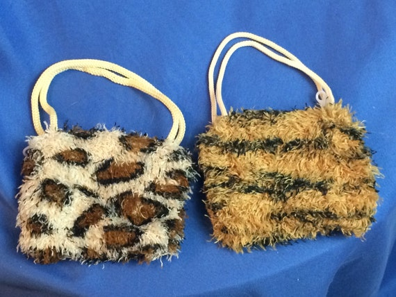93a8cb68654b Fuzzy Animal Print Purse for your 18 inch doll. Fits American