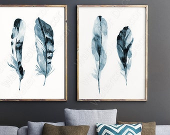 Feather Watercolor Art Prints - Set of 2 Feather Wall Decor Housewarming Gift Birthday Gift Wall Hanging