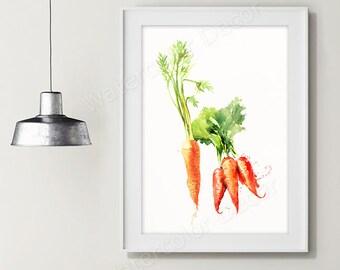 Carrot Watercolor Art Print - Vegetable Watercolor - Kitchen Wall Decor - Kitchen Art Print Housewarming Gift