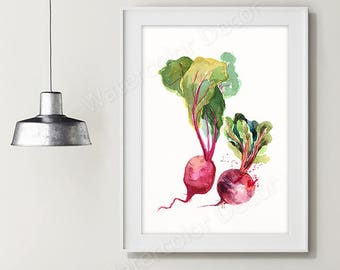 Beet Watercolor Art Print - Vegetable Watercolor - Kitchen Wall Decor - Kitchen Art Print Housewarming Gift