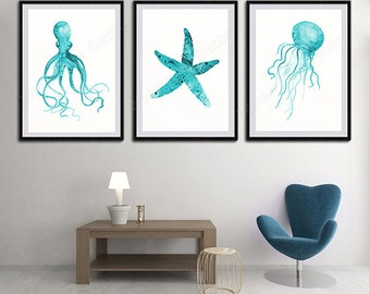 Oceanic Life Watercolor Art Prints - Set of 3 Octopus, Starfish and Jelly fish Watercolor Art Decor Under the Sea Blue Life Decor Set A2