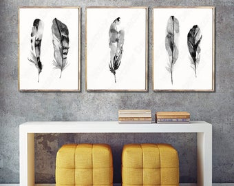 Feather Watercolor Art Prints - Set of 3 Black and White Feather Wall Decor Housewarming Gift Birthday Gift Wall Hanging - SetB