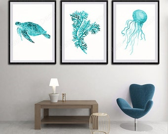 Oceanic Life Watercolor Art Prints - Set of 3 Sea turtle, Coral and Jelly Fish Watercolor Art Decor Under the Sea Blue Life Decor Set B1