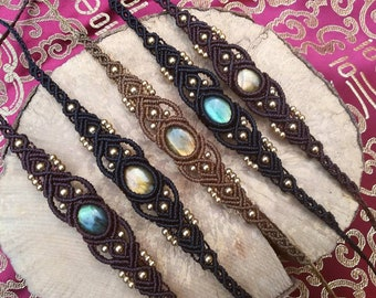 Adjustable Macrame bracelet labradorite stone choice choice labradorite stone macrame bracelet