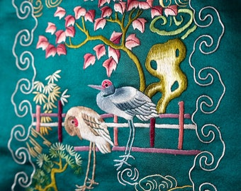 Antique Hand Embroidered Chinese Silk Painting/Wall Decoration/Hanging