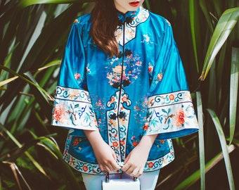 Vintage New Condition Chinese Silk Embroidered Jacket/Robe/Kimono