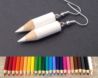 Colored Pencil Earrings, Cute Jewelry, Kawaii Earrings, Art Teacher Gift Idea, Kitsch Jewelry, School Supplies, Fun, Cool, Funky Jewelry
