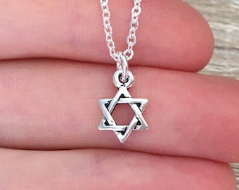 Star of David Pendant, 925 Sterling Silver Chain, Jewish Necklace, Israel Jewelry, Bar Mitzvah Gift, Small Magen Star Charm, Judaica, Hebrew