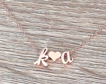 b58c424c74 Two Letter Necklace, Boyfriend Girlfriend Gift, Valentine's Day Jewelry,  Rose Gold Pendant, Heart, Cursive Initial, Personalized, Couples