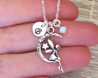 5d3343028 Personalised Fairy Necklace, Sterling Silver Chain, Pixie Jewelry, Girl's  Necklace, Initial Jewelry, Letter Charm Pendant, Best Friend Gift