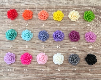 18/36 Pcs ~ 20mm Resin Rose Flower Beads Charms Flatback Cabochon Jewelry Crafts Embellishment Findings