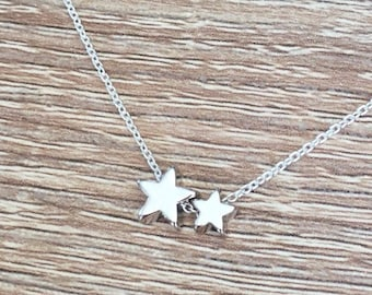 Star Bead Necklace, 925 Sterling Silver Chain, Tiny Star Pendant, Celestial Jewelry, Dainty Necklace, Double, Small, Minimal, Two Charm