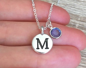 Personalized Pendant, 925 Sterling Silver Chain, Sapphire Jewelry, Letter Necklace, Engraved Initial Jewelry, Charm, Bridesmaid, Gift