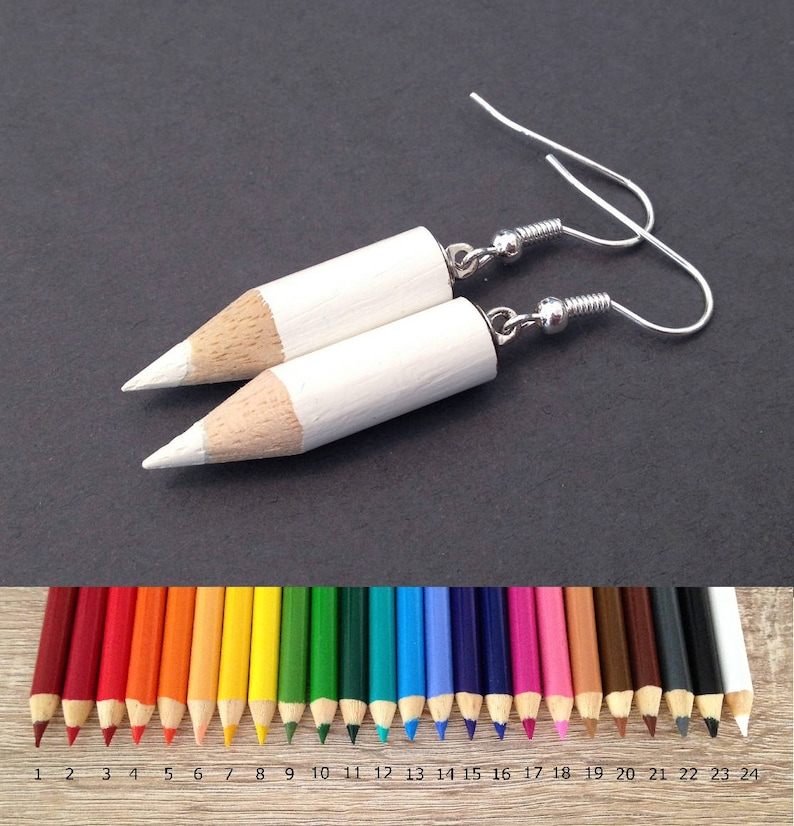 Colored Pencil Earrings Cute Jewelry Kawaii Earrings Art image 0