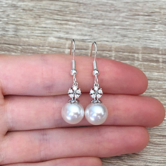 sterling ear wires gift for Mom wedding earrings Mother/'s Day white pearls pearl and silver earrings long earrings Dangle earrings