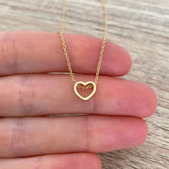 Wedding Simple Rose Gold Filled Necklace Valentine/'s Day Gift Birthday Jewelry Dainty Heart Necklace Delicate Love Necklace