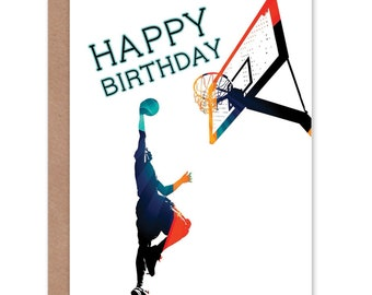 436184a9d Basketball Card   Birthday Card   Teen Card   Boys Birthday Card   Sports Birthday  Card   Slam Dunk - CP1118