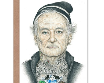 eeac724c0da23 Bill Murray Card - Gangster Funny Inked Ikon Art by Wayne Maguire - CP2936