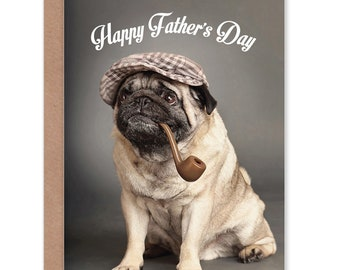 4d8263b6a55c1 Fathers Day Card - Pug Dog Cute Pipe Dad Blank Greetings Card - CP2381