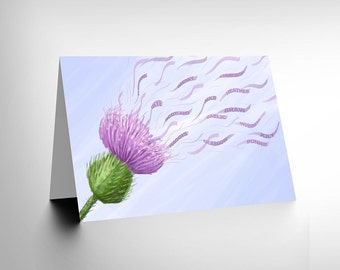 Scottish Card - Thistle Scottish Art Blank Greetings Card CL1253