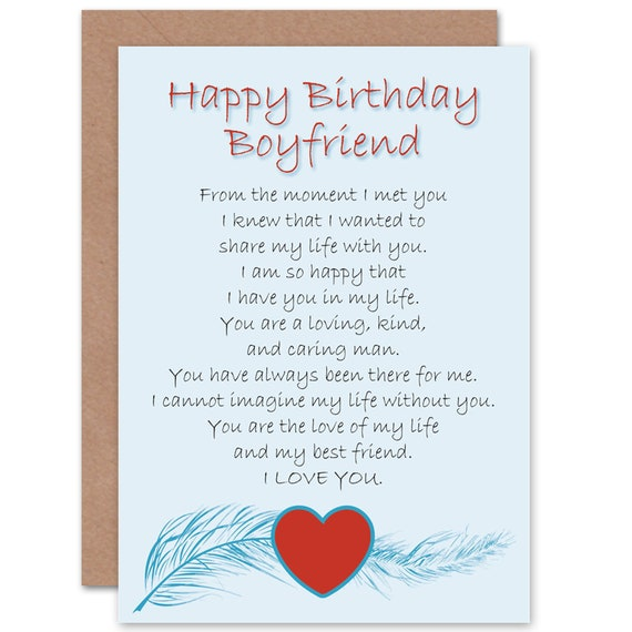 Boyfriend Birthday Card Love Poem Sweet Cute Happy Birthday Etsy