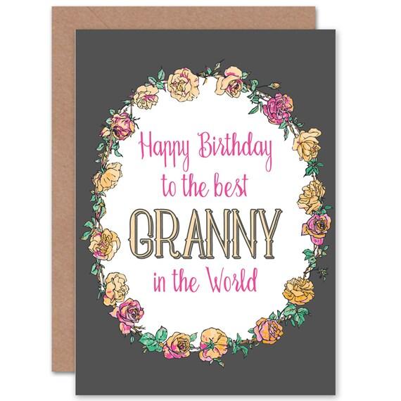 Oma Geburtstagskarte Beste Oma In Welt Blumen Ziemlich Leere Etsy