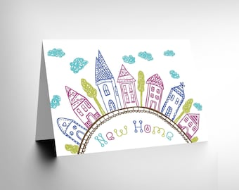New New Home Kids Drawing City Clouds Birthday Blank Greetings Card CL1119