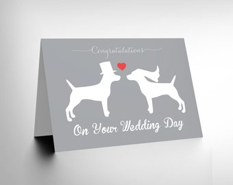 Card Wedding Day Animal Silhouette Love Two Dogs Heart Gift Cl1839