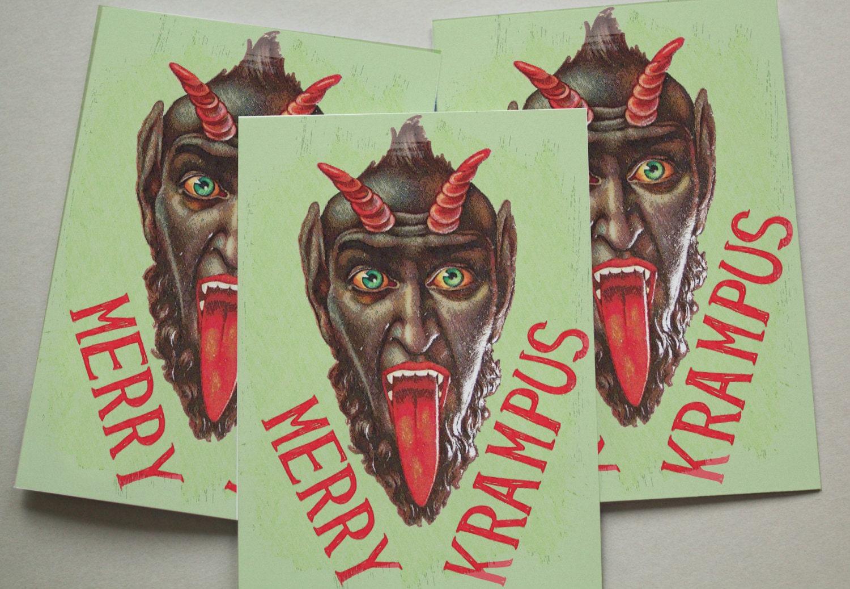 Krampus Christmas Cards / 6 Pack / Anti Santa / Funny / Devil | Etsy