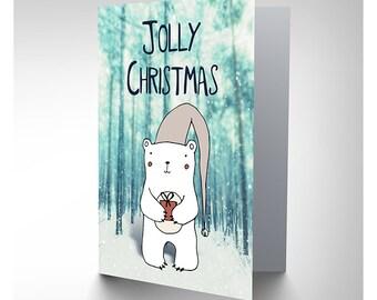 Jolly Christmas / Cute Polar Bear / Christmas Card - CP3127