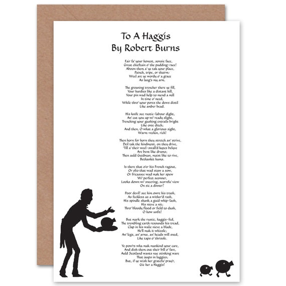Scots Poem Card Robert Burns To A Haggis Scotland Blank Greetings Card Cp157