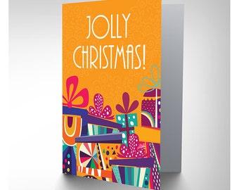 Jolly Christmas Card /  Presents / Festive Blank Card - CP3128