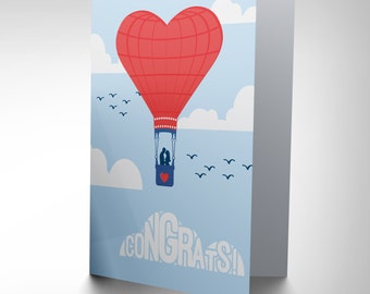 Wedding Card - Hot Air Balloon Congrats Gift Wedding Marriage CP2919