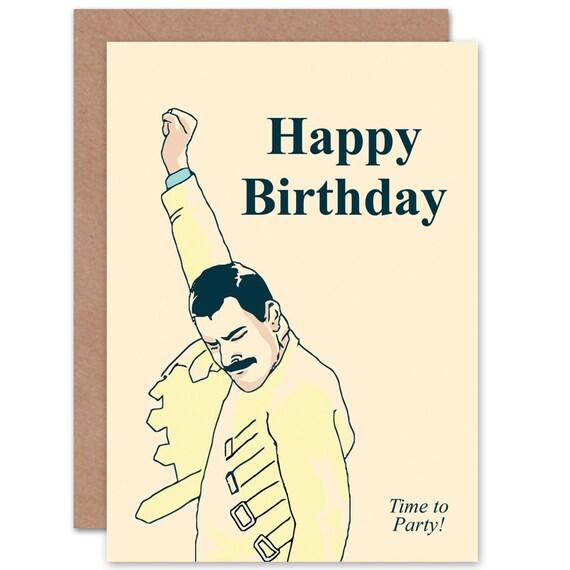 Birthday Card Freddie Mercury Queen Blank Card Cp1697 Etsy