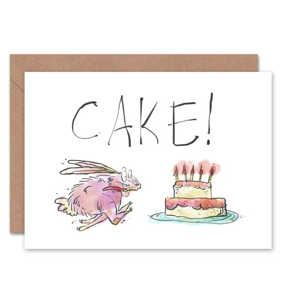 Birthday Card Cake Funny Rabbit