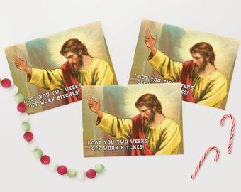 Funny / Jesus / Multi Pack Christmas Cards / 6 Pack / Alternative Xmas / - XMPACK039_CP