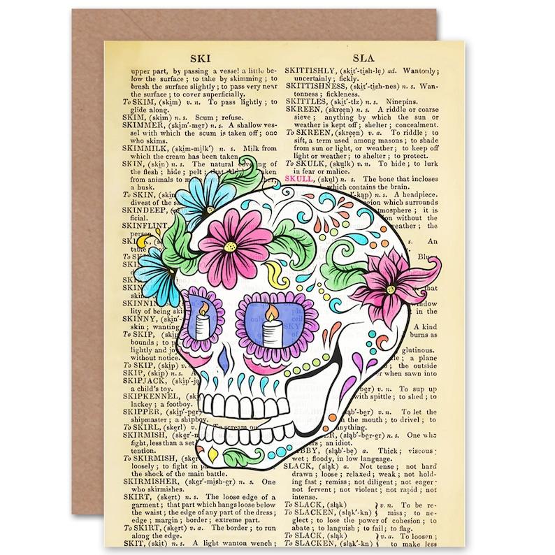 Jour De the Mort Squelette Chat Mini-jupe-Taille 8 10 12 14 16-Mignon Candy Skull