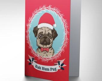 Pug Christmas Card / Hum Bug / Cute Dog Xmas Gift - CP3060