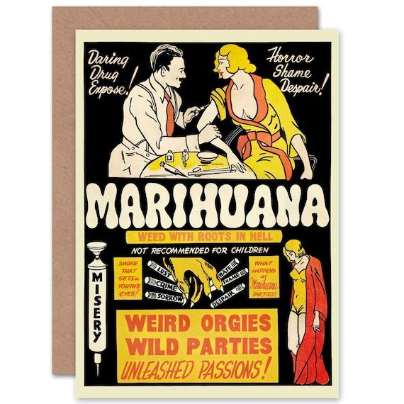 Marijuana Card - Political Drug Abuse Marijuana Weed Weird Birthday  Greetings Card - CP1248